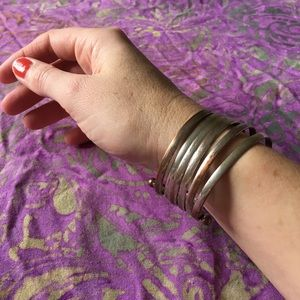Jewelry - Silver & copper ringed cuff bracelet set •BOGO•